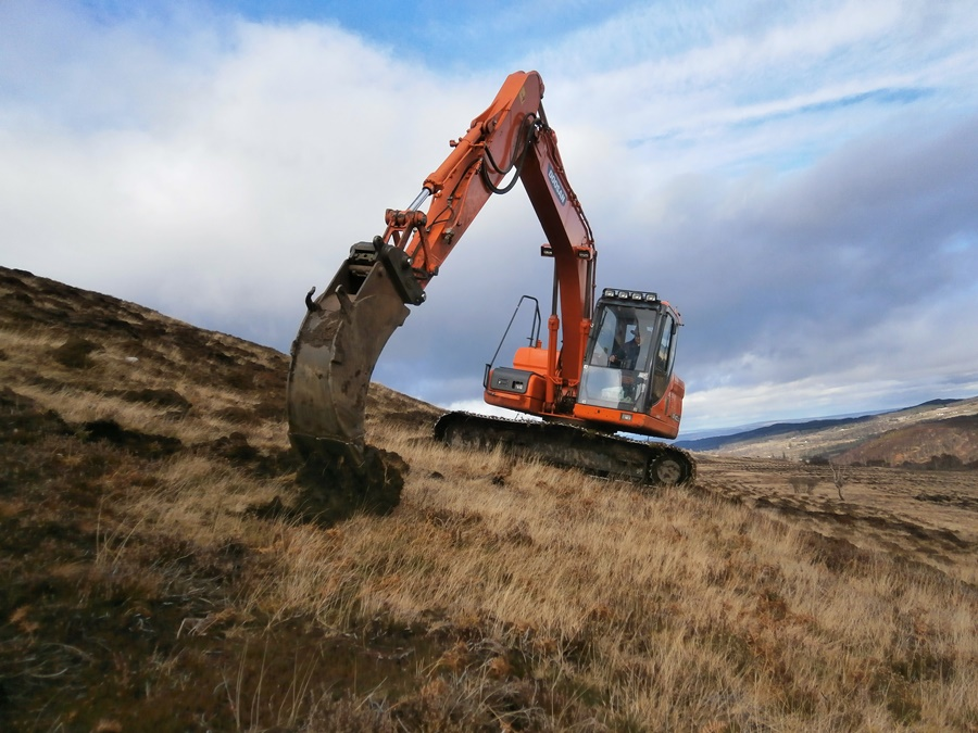 Excavator based site preparation on less accessible parts of the site