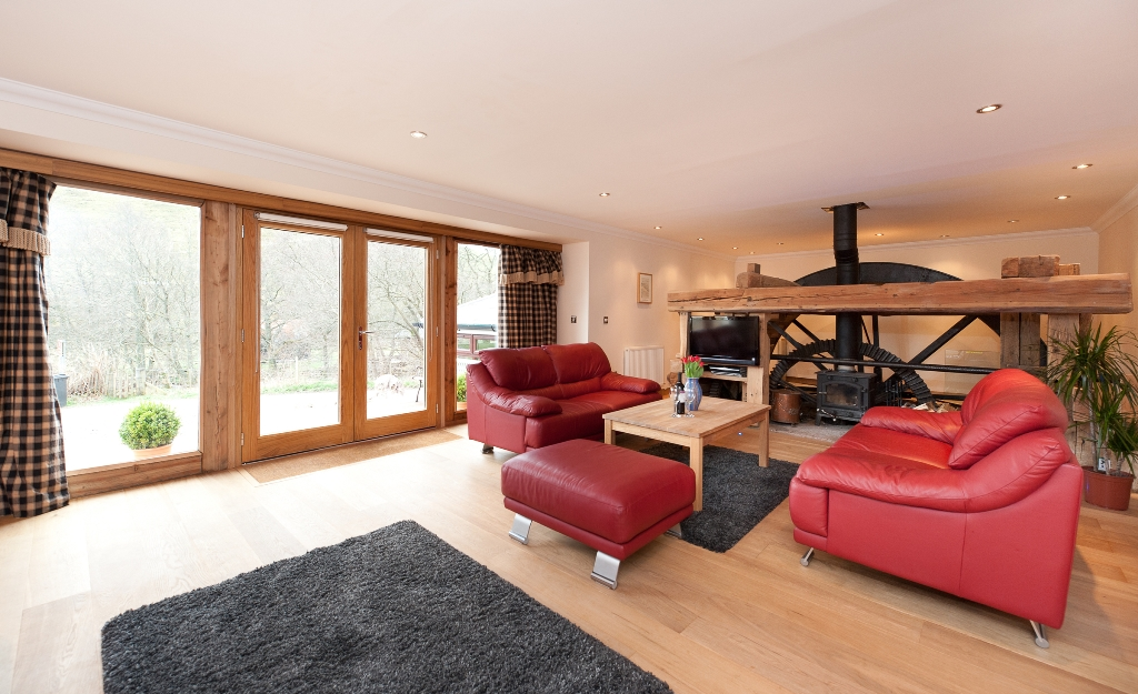 Mill of Auldallan - The Mill - Living Space with mill wheel feature