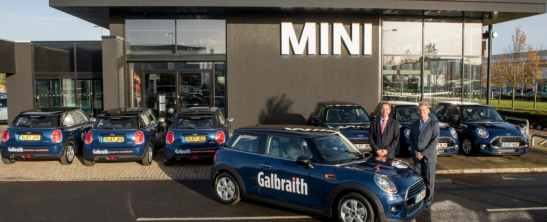 7 Galbraith Minis outside the Eastern Mini Showroom