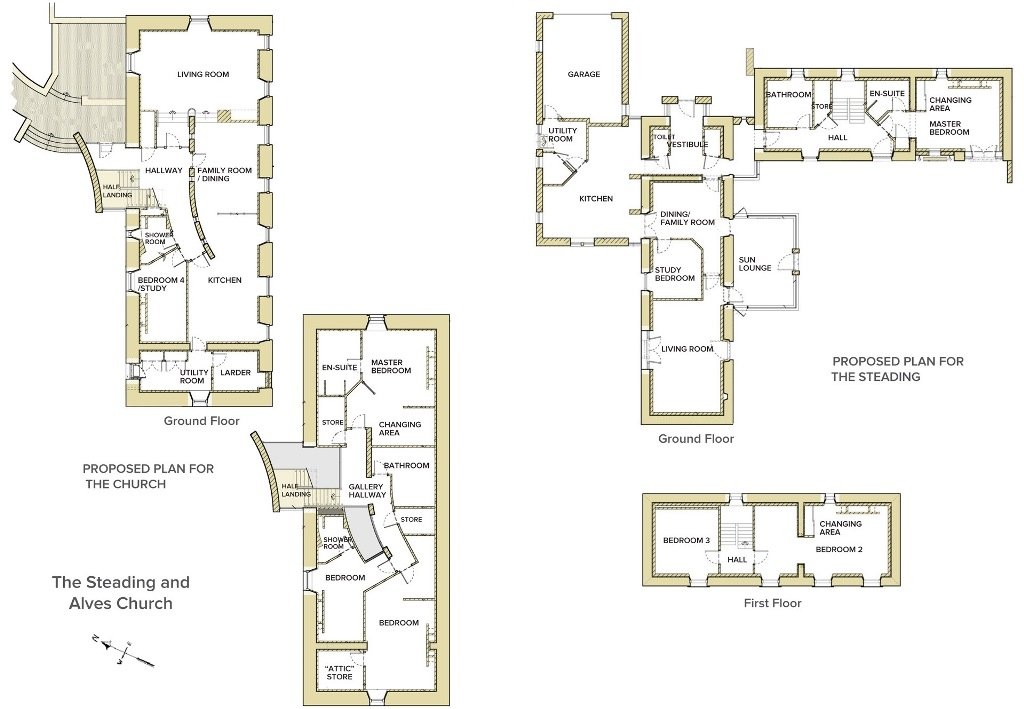 The Church and The Steading - Floorplans